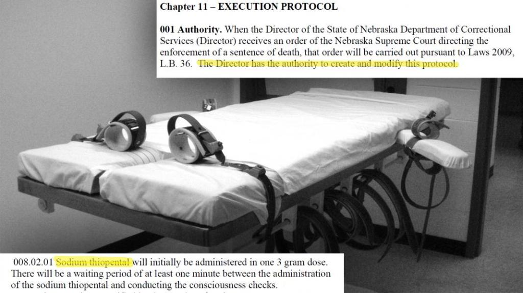 Excerpts of the death penalty protocol. (Photo illustration: Bill Kelly/NET News)