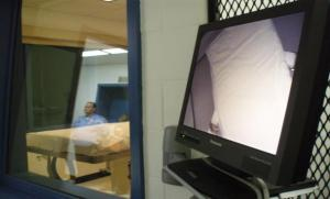 The video monitor inside Nebraska's lethal injection facility. (NET News/Bill Kelly)