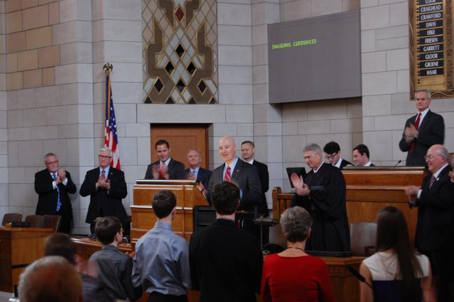 Pete Ricketts acknowledges applause after being sworn in (Photo by Fred Knapp, NET News)