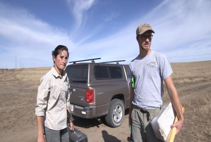Lucía Corral and Alan Harrington are studying swift fox in Western Nebraska. (Photo by Ryan Robertson, NET News)