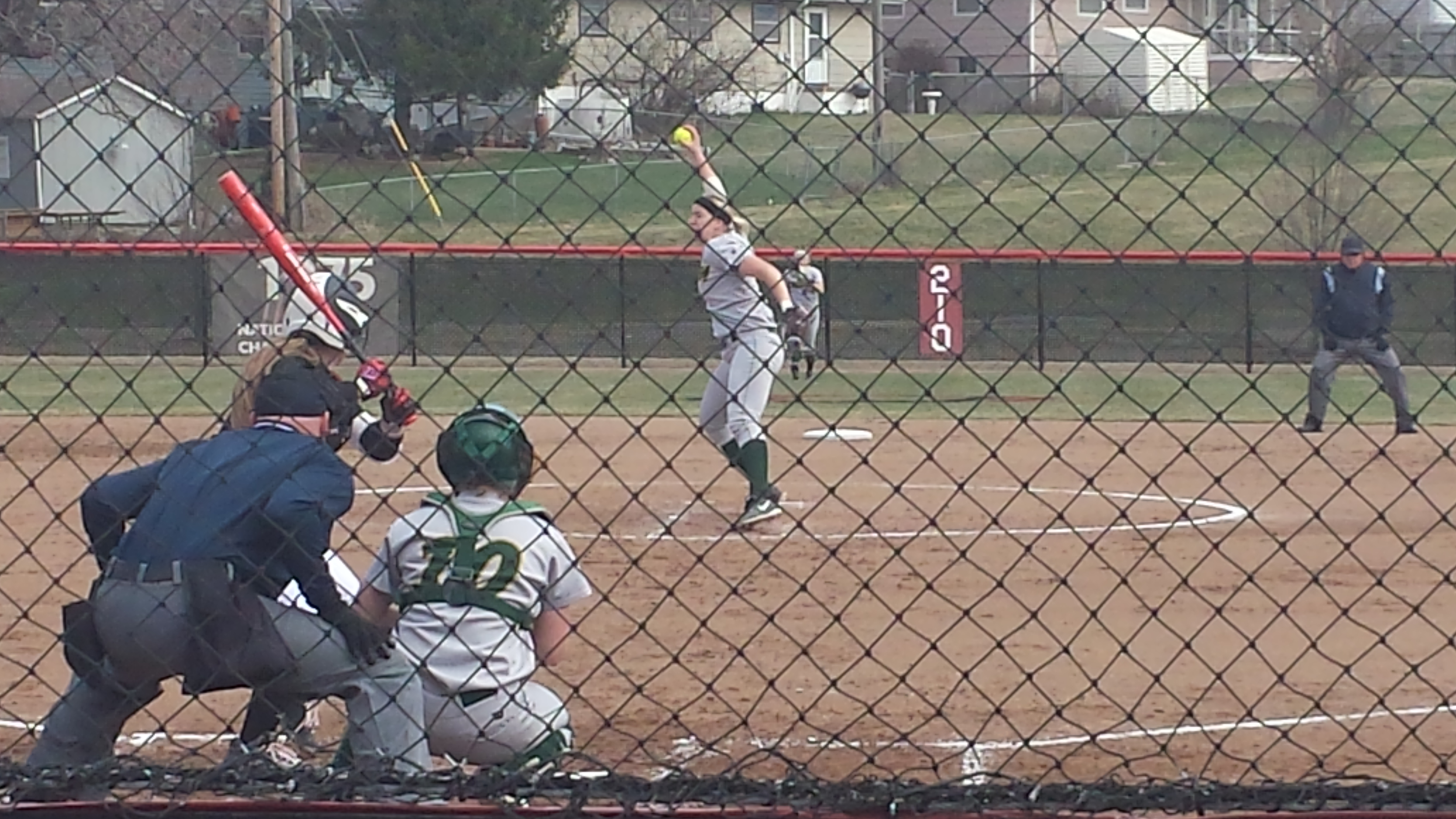 Krista Menke (pitching) made a splash returning home to Nebraska. (Photo Courtesy Brandon McDermott)