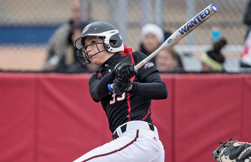 Campbell Ditto's two run walk-off home-run in the 8th innings propelled UNO to victory in game one. (Photo Courtesy UNO Athletics)