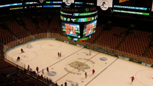 The TD Garden in Boston sits empty as crews prepare it for the 2015 Frozen Four.