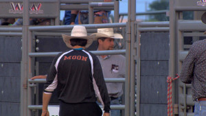 Bullfighter Rowdy Moon of Sargent, Nebraska is only 18 but started to learn rodeo bullfighting when he was 12 years old. (Photo by Brian Seifferlein, Harvest Public Media)