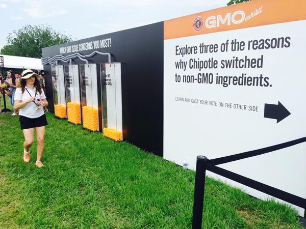 Folks attending a Chipotle Cultivate Festival in Kansas City on July 18 voted on their opinions about genetically modified organisms after going through the exhibit. (Peggy Lowe/Harvest Public Media)