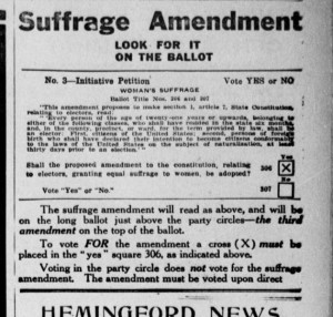 An ad supporting the 1914 ballot initiative proposing giving women the right to vote. (Source: Alliance Herald/Library of Congress)