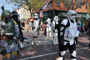 501st Central Garrison members dressed as Boba Fett, Storm Troopers, and other Star Wars characters paraded in front of several hundred people. (Photo by Ryan Robertson, KVNO News)
