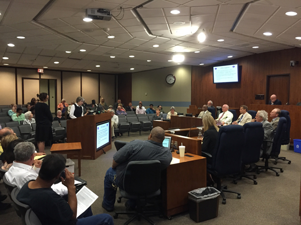 Omaha City Council members hear from citizens during a public hearing over the Mayor's proposed 2016 budget. (Photo by Ryan Robertson, KVNO News)