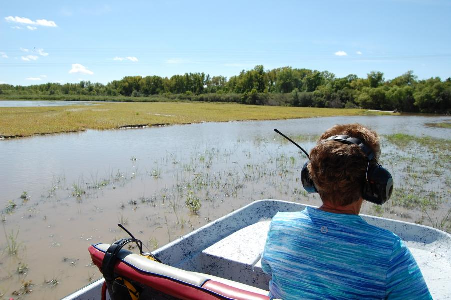 Cruising the Middle Loup River in an airboat. (Photo by Ariana Brocious, Platte Basin Timelapse)