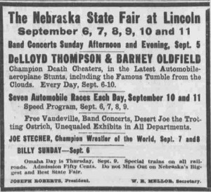 A 1915 Omaha Sun advertisement for the State Fair.