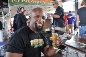 Former Husker Ahman Green attended the Great Nebraska Beerfest on behalf of his foundation, The Ahman Green Foundation. Green said he wants to partner with Nebraska Brewing and develop a new flavor of beer inspired by him. (Photo by Ryan Robertson, KVNO News)
