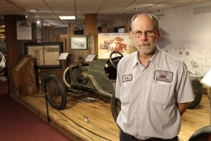 Bob Mays, researcher at the Smith Collection Museum of American Speed (Photo by Mike Tobias, NET News)