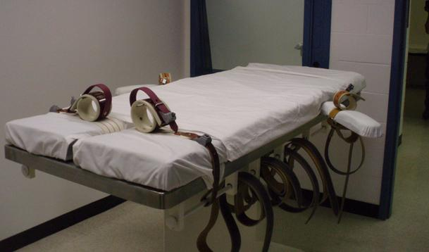 A prisoner would be strapped to this table for execution if Nebraska carried out the death penalty (Photo by Bill Kelly, NET News)