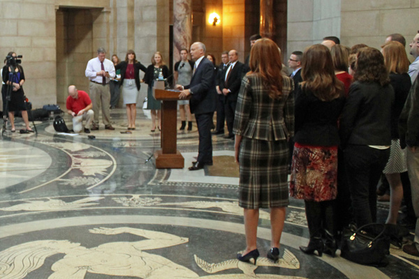 Nebraska Attorney General Doug Peterson announcing the Human Trafficking Task Force (photo by Mike Tobias, NET News)