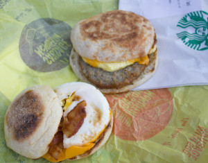 Starbucks and McDonald's have both committed to making egg sandwiches and other fare from eggs laid by hens that live in cage-free environments. (Amy Mayer/Harvest Public Media)