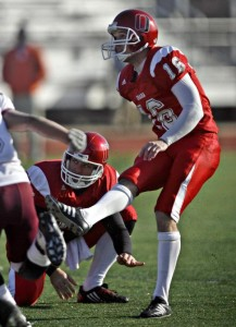 Greg Zuerlein attempts a kick for UNO in the Kanza Bowl in 2009. (Courtesy Topeka Capital-Journal)