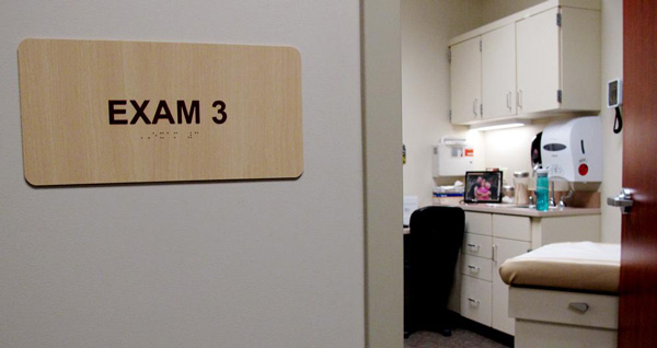 When patients arrive for a behavioral health appointment in Chadron, they go to a normal medical exam room. (Photo by Grant Gerlock, NET News)