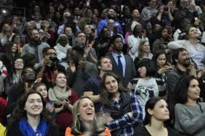 The crowd at Baxter Arena listens intently as President Obama speaks. (Courtesy Bill Grennan)
