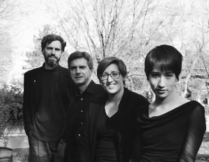 The members of Eko Nova. From Left: Paul Ledwon (cello), Thomas Kluge (viola), Dani Meier (bass), and Elizabeth Furuta (violin)