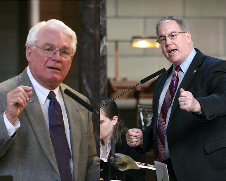 Sen. Galen Hadley, left, and Sen. Bill Kintner, right (Photos courtesy of the Nebraska Legislature)