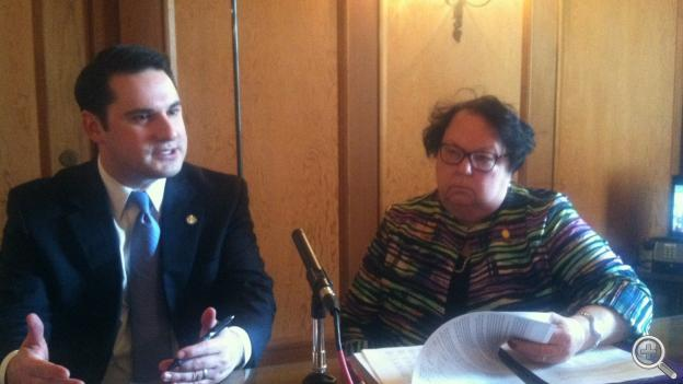 Sens. Heath Mello and Kathy Campbell discuss Medicaid expansion (Photo by Fred Knapp, NET News)
