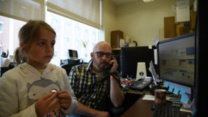 KVNO News Director Ryan Robertson and his daughter participate in National Take Our Daughters and Sons to Work Day (Image by Ryan Robertson, KVNO News)
