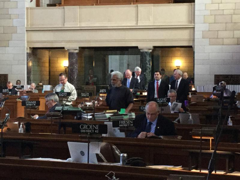 Sen. Ernie Chambers filibusters in Nebraska Legislature Tuesday (Photo by Fred Knapp, NET News)