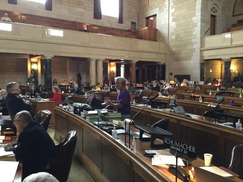 Sen. Ernie Chambers speaks in the Nebraska Legislature Wednesday (Photo by Fred Knapp, NET News)