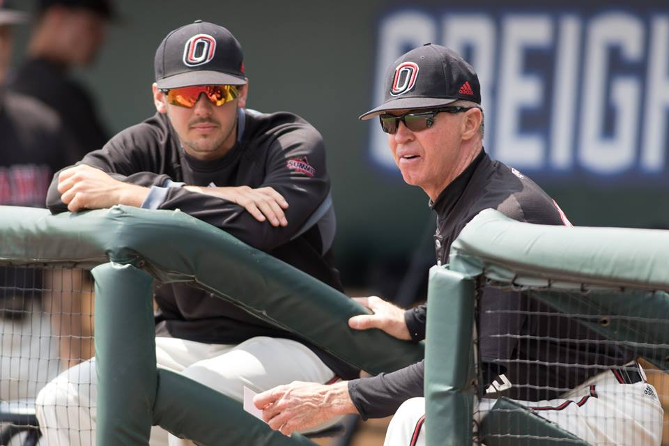 Tyler Fox (left) and UNO head coach Bob Herold (left) during last week's Creighton game. (Courtesy UNO Athletics)