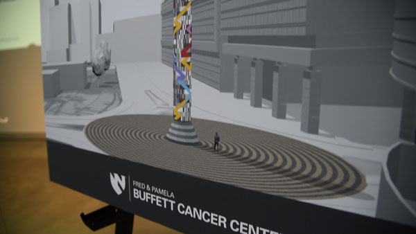 """Search"", the new piece by Omaha artist Jun Kaneko will be the cornerstone of UNMC's new Fred & Pamela Buffett Cancer Center. (Photo by Ryan Robertson, KVNO News)"