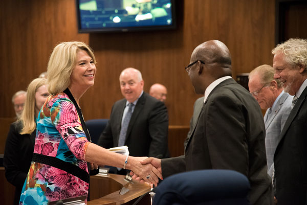 Mayor Jean Stothert presents her proposed 2017 budget to the Omaha City Council. (Photo by Ryan Robertson, KVNO News)