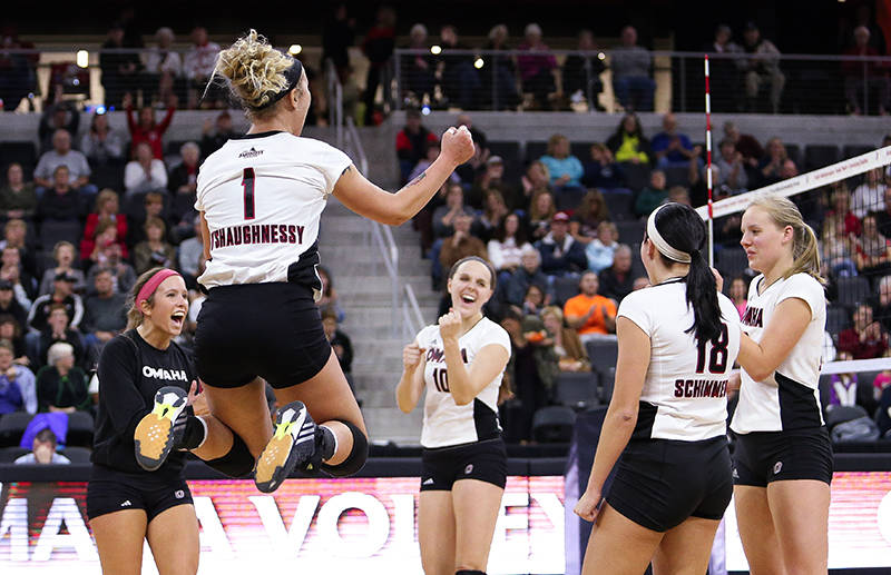 The Maverick volleyball team looks to utilize the home court advantage at Baxter Arena (Photo courtesy UNO Athletics)
