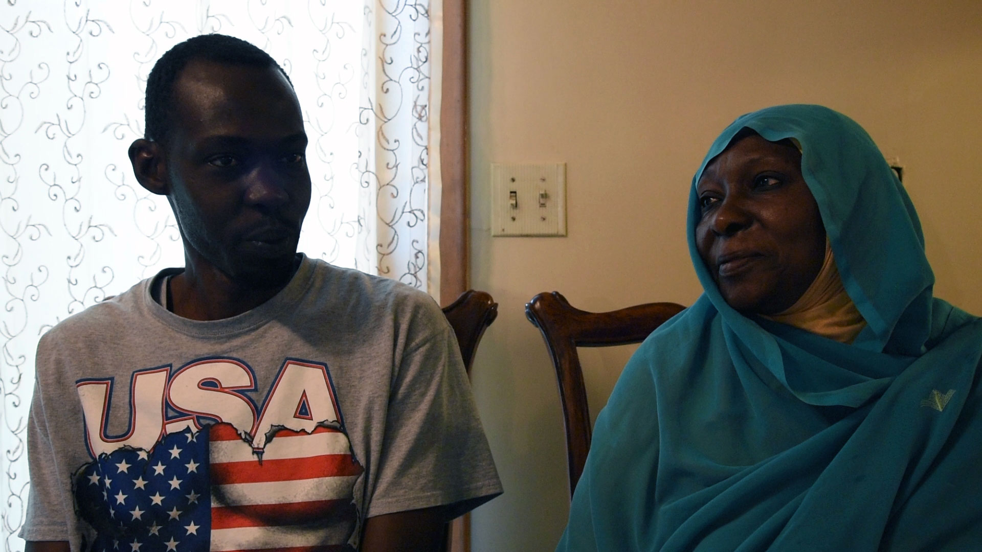 Abdullah and Geila Hassan are mother and son. Geila came to Omaha three years ago, Abdullah arrived in Omaha this summer. (Photo by Ryan Robertson, KVNO News