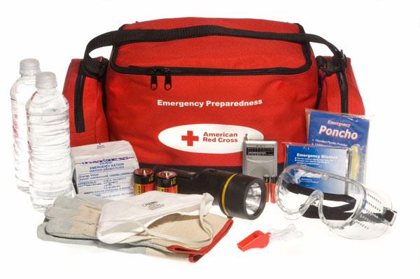An example of an emergency preparedness kit. (Image courtesy of FEMA)