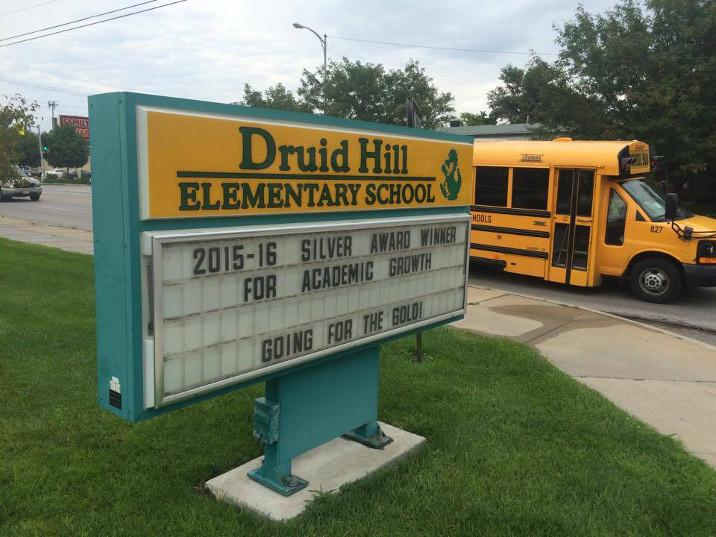 Druid Hill Elementary School in North Omaha is a high-poverty urban school that's struggled in the past with academic performance. The school has begun performing better. Last year, it was the recipient of the Silver Award for Academic Improvement. (Photo by Ben Bohall, NET News)