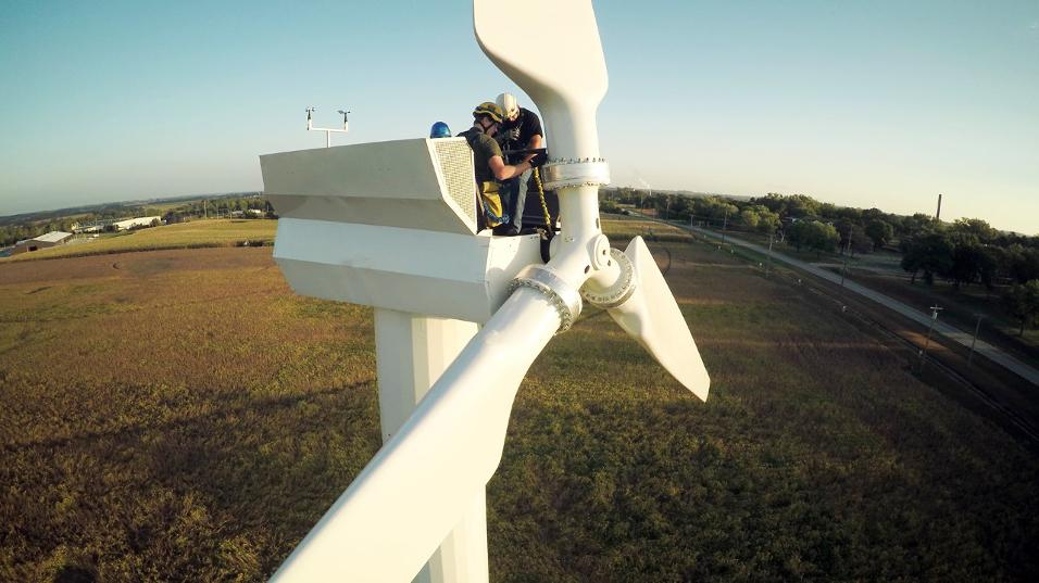 Students of Northeast Community College's wind energy technician program train on the campus' fully functioning 100 kW Micon 108 turbine. (Courtesy photo)