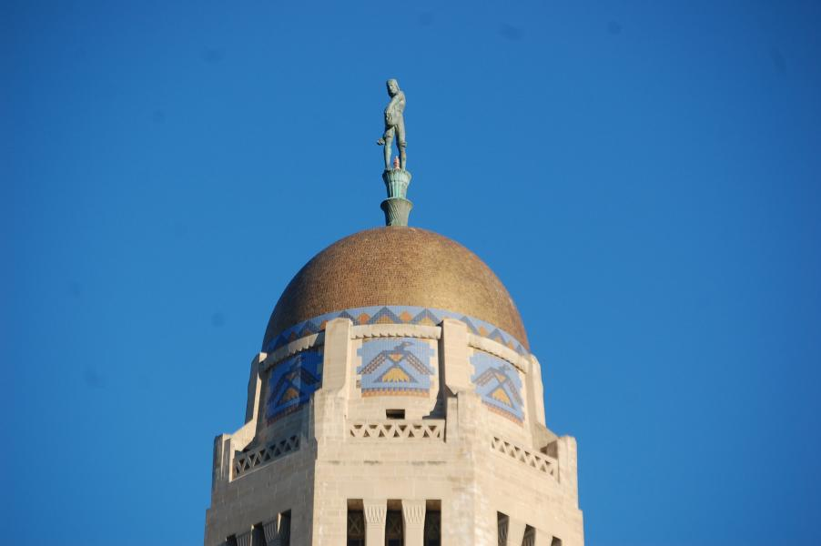 Sower atop Capitol dome (Photo by Fred Knapp, NET News)