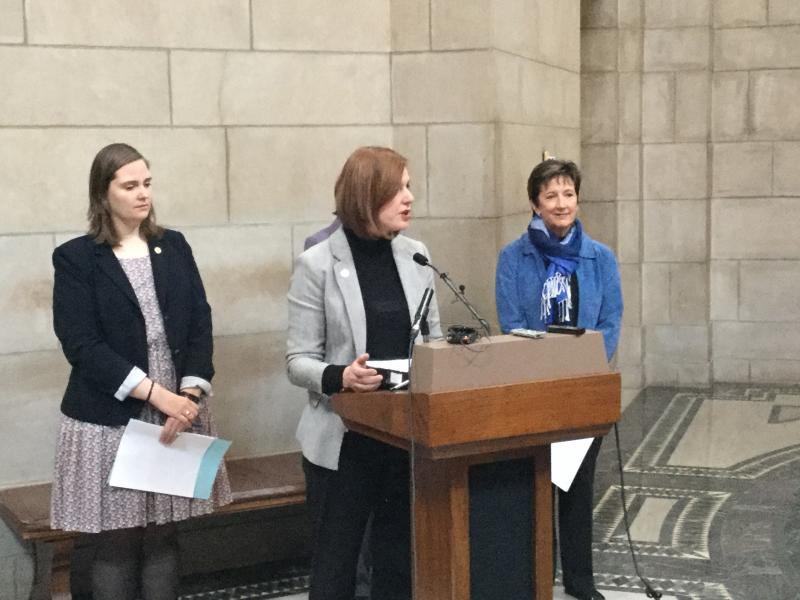 Sens. Sara Howard, Kate Bolz and Patty Pansing Brooks at the Capitol (Photo by Fred Knapp, NET News)