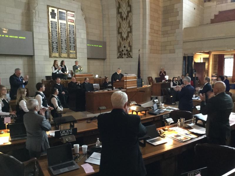 Chief Justice Mike Heavican prepares to address the Nebraska Legislature (Photo by Fred Knapp, NET News)